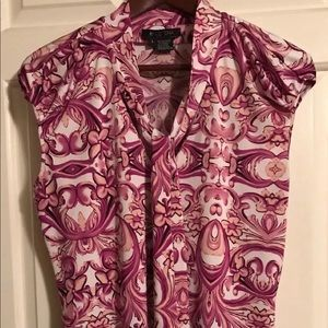 ETCETERA Pink Fuchsia Stretch Blend Blouse Top